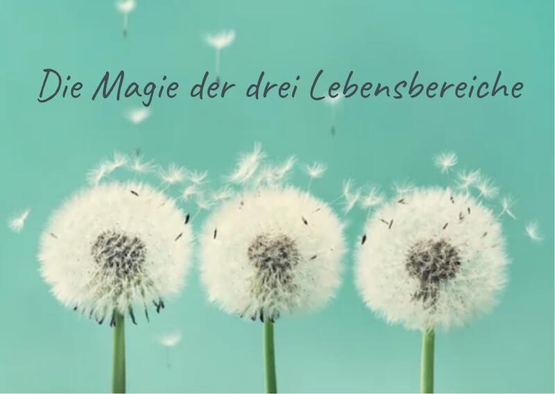 """Drei Pustebluemn auf türkisem Hintergrund mit Überschrift """"Die Magie der drei Lebensbereiche"""""""